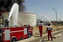 تصویر از آتش سوزی در یکی از مخازن پتروشیمی بیستون کرمانشاه