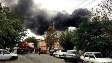 تصویر از انفجار و آتش سوزی یک واحد چسب و حلال در شهرک صنعتی چهاردانگه